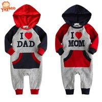 bebe sizes - High Quality Baby Winter Clothes I Love Dad Mom Baby Winter Rompers Hooded Baby Winter Jumpsuit For Bebe Menino and Menina