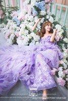 Wholesale 2016 Wedding Dresses Studio Theme Clothing Wedding Photography Long Tail Purple Lovers Photography Lace Flowers Dress