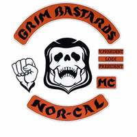 Wholesale Grim Bastards Embroidered Iron on Patches for Clothing Motorcycle Club Biker Outlaw MC SUPPORT CREW