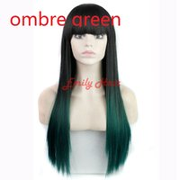 Wholesale 30 quot Straight Ombre Wig Cheap Synthetic Wigs Colors African American Wigs For Black Women Kinky Afro Wigs Perruque Peluca Elsa