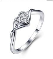 Wholesale High quality Ladies Fashion Zircon Wedding Ring sterling Silver fashion charm girl gift Beautiful Cute pretty Heart love rings