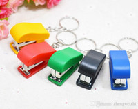 Wholesale 2016 New Portable Mini small Stapler Staples Use For School Office Keychain Stapler keychain Fashion Accessories