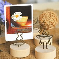 Wholesale 1 Styles Wooden Photo Holder Wrought Iron Garden Picture Photo Clip Note Message Folders Wire Practical Home Decoration