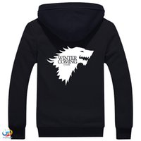 animal house sweater - 2016 A Song of Ice and Fire Zip Hoody Game of Thrones Black Hooded Jacket House Stark Thick Coats Unisex plush Sweater Hoodie