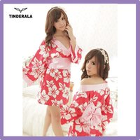 Wholesale new kimono sexy uniform long sleeve v neck halloween costume transparent Japanese Kimono fancy dress g string bowknot
