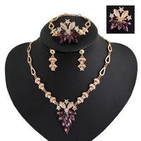 Wholesale 2016 Rhinestone Jewelry Sets K Gold Plated Brand Jewelry Colors Elegant Fashion Bridal Wedding Dress Accessories Costume Crystal Jewelry