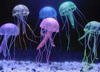 aquarium deco - New Cute Fluorescent Glowing Effect Jellyfish Aquarium FishTank Ornament Swim Pool Bath Deco Mini Night aquarium lamps