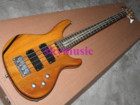 bamboo electric guitar - NEWEST arrival Natural Wood Solid Strings Epi Electric Bass Guitar with Bamboo inlay fretboard