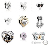 animal stamps - 100pcs Newest Fits Pandora sterling silver Charms Big Hole loose Beads Stamped for European Diy charms bracelet free shiping