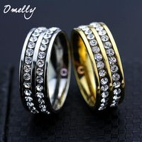 Wholesale 18K Gold Filled Rose Gold Crystal Paved Ring L Stainless Steel Crystal Stone Couple Rings for Women Man Wedding Jewelry Set
