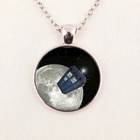 arts box pendant - art glass pendant Doctor who tardis space necklace doctor who police box jewelry glass cabochon dome pendant