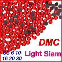 Wholesale Top High Grade SS6 Light Siam Red DMC Hotfix Rhinestone Crystal Bead Jewelry Iron On For Women DIY Wedding Clothes