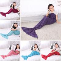 acrylic mat - 140 CM Kids Mermaid Tail Blankets Acrylic Knitted Blanket Girls Mermaid Sofa Mat Crochet Blanket Gift For Kids