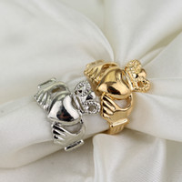 Wholesale Classic Claddagh Ring K White Yellow Gold Plated Garnet Wedding Ring gemstone rings