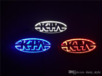 Wholesale For KIA car logos car model Forte Cerato Soul Sorento D car Emblems Badges Car symbols led lights with blue white red