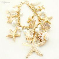 achat en gros de carapaces de crabe de gros-Vente en gros-Fashion Gold Pearl Shell Seahorse Sea Starfish Étoile Reef Crab Plage Bracelet MPJ023Z
