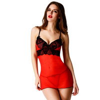 Wholesale Intimates Women Sexy Costumes Lingerie Sleepwear With G String porn Lace Transparent Dress Plus Size net Babydoll