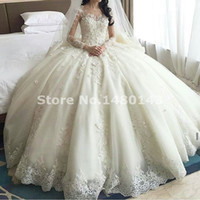 Wholesale 2016 Modern Ball Gowns Long Sleeves Wedding Dresses Backless Lace Applique Beads Cap Sleeves Sweep Train Long Bridal Gowns Sheer Neck