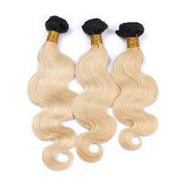 Cheap 9A Brazilian 1B 613 Blonde Ombre Human Hair 3Pcs Body Wave Hair Extensions Dark Roots Bleach Blonde Ombre Brazilian Human Hair Weave Bundles