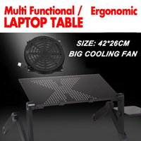 Wholesale 360 rolling mesa suporte para notebook stand for bed Folding Portalbe laptop table for bed with big cooling fan and mouse pad