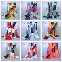 Wholesale 9 Color Women Fashion Plaid Silk Scarf Colorful Geometric Chiffon Soft Scarves Brand Shawl LONG