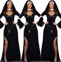 Wholesale New Sexy Erotic Deluxe Ladies Nun Costume Adult Black Halloween Fancy Dress