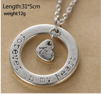ancient names - Fashion Vintage retro Couple loving guardian Forever in my heart Pendant Name Initial Letter Short Clavicle necklace Ancient silver necklace