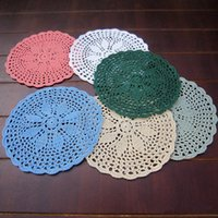 Wholesale 6 Per Set Hand Crocheted Doilies Round Handmade Table Doilies for Wedding Round Wedding Centerpieces Table Coasters Mats