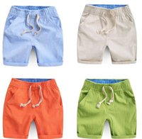 Wholesale 2016 Summer New Boys Pants Fashion Casual Cotton Children s Clothing Linen Shorts Kids Baby Boy Shorts Yellow Beige Blue Green