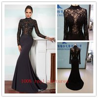 Cheap 2016 Black Mermaid Evening Dresses Lace Applique Beaded High Neck Long Sleeves Evening Gowns Sweep Train Custom Made Prom Dress