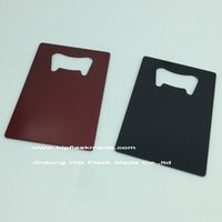 Wholesale Black and Red color High quality Stainless steel bottle opener credit card opener Personalized logo Free