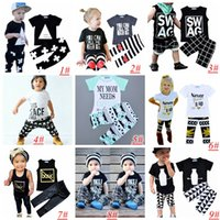 baby plaid shirts - Kids Ins Clothing Sets Baby Fashion Suits Girls Letter T Shirt Pants Infant Casual Outfits Boys Ins Tops Harem Pants styles choose T
