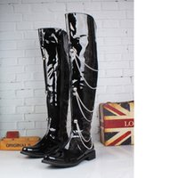 Cheap Men's Leather Shoes Over-the-Knee High Boots,Punk Rivets Pole Dancing Boots,Pointed Toe Winter Casual Martin Leather Boots,US Size 6-10