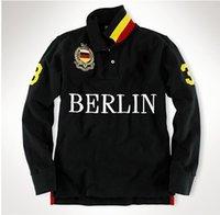 Men big milan - Top Quality Casual mens shirt Berlin Paris London Rome New York Milan Long sleeve Shirts with big horse embroidery polo t shirts