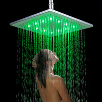 Wholesale Good Quality quot Chrome Finish LED Square Shower Spray Sprinkler Head Temperature Sensor Color Changing