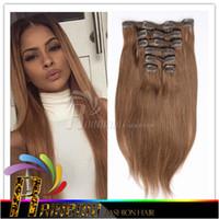 precio de fábrica barato del clip pelo brasileño de Remy en el cabello humano Extensión total de 120 g 7 Piezas Lote (100g 20g clips de pelo) Cabeza completa