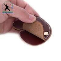 Wholesale Double deck Cow Leather Archery Finger Guard Protection Pad Glove Tab Bow Shooting
