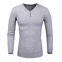 Wholesale Autumn Fall Sweater Men Pullover Button Striped Wool Knitwear Pull Homme Sweter Hombre Christmas Sweater