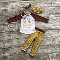 american football kid - Football clothes Fall suit kids brown boutique clothing pants gold Sequins long sleeves with matching bow and necklace set