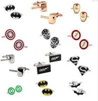 Wholesale Metal Superhero Cuff Link Superman Spider Man Iron Man Batman Captain America