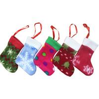 Wholesale lastest creative Christmas Knifes Forks Bag colorful socks Tableware Cutlery Holder Party Decoration set of