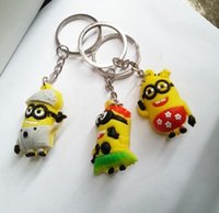 Wholesale 2015 NEW D Despicable Me Minion Action Figure Keychain Keyring Key Ring Cute Promotion Gifts Card Package mobile phone accessories
