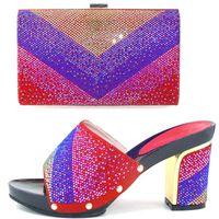 amazing knots - JK114 red Amazing design platform cm high heels with stones High quality Lady italian shoe and handbag set to match dress