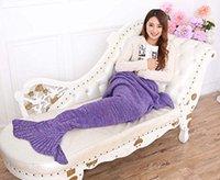 Wholesale Mermaid Tail Blanket Handmade Crochet All Seasons Warm Soft Living Room Sleeping Bag For Kids Adult Air conditioning quilt