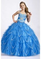 Wholesale 2016 New Style Girls Pageant Dresses for Teens Kids tutu Ball Gowns Blue Crystal Floor Length Formal Evening