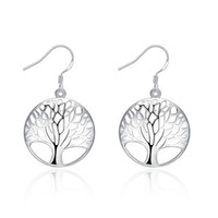 Cheap Classic Fashion Plate 925 Sterling Silver Tree of Life Earrings Bohemian Boho Jewelry Vintage Punk Cute Earring Freeshipping