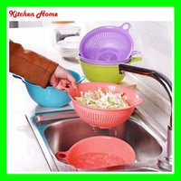 basket for vegetable - 2 Set Bright Kitchen Wash Rice Sieve Drain Wash Fruit Vegetables Basket Strainer Shiping for free