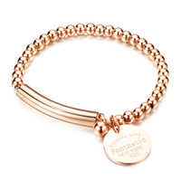 bar medal - Charming Silver Rose Gold Two Tone High Quality stainless steel forever love Medal Charms Smooth Cuff Bangle Bracelet Bracelet