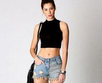 Wholesale Fashion Street Style Slim Vest Women Crop Tops Black Sleeveless High Neck lady tshirt