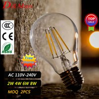 antique glass chandeliers - Chandeliers lighting Led E27 Antique Retro Vintage Edison LED Bulb Filament Light Glass Bulb W W W W Candle Light Lamp For Indoor